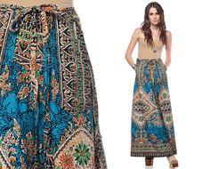 Hippie BATIK Skirt 70s Maxi Skirt Thai Bohemian 1970s by ShopExile, $38.00
