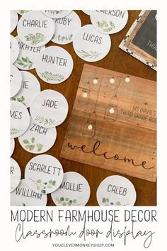 Bring more of the trend you love from home into your classroom with this beautiful MODERN FARMHOUSE Classroom Door Pack! Create a welcoming door display, classroom banner, affirmation station or inspiring bulletin board message with this pack made to match our other MODERN FARMHOUSE Classroom Decor. Choose from the different shaped signs (round, square and landscape full page) and sizes, add some labels or select a banner from one of the many included! #modernfarmhouseclassroom Classroom Door Displays, Classroom Banner, Classroom Labels, Classroom Themes, Classroom Organization, Display Banners, Primary School Teacher, Display Lettering, 2nd Grade Classroom
