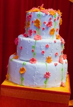 Cake, Pink, White, Green, Orange, Wedding, Summer, Sugar and spice and , August, Multi-color, Hot colors
