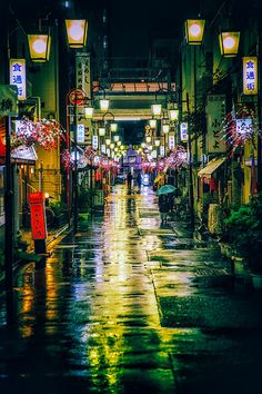 Local shopping promenade in Tokyo, Japan.  Looks like something out of a video game!
