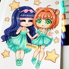 Chibi couple commission for @bre_latte of Tomoyo and Sakura from Cardcaptor…