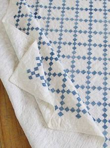 Antique Blue White Postage Stamp Irish Chain Quilt Farmhouse Beauty | Vintageblessings $375