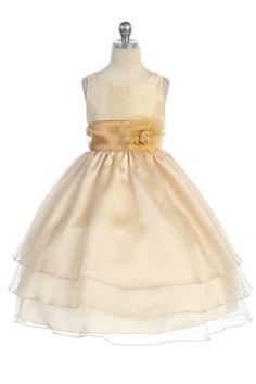 Pretty champagne colored flower girl dress - $56.95