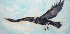 Raven Flight - raven painting, original painting by artist Deb ...