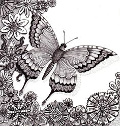 Flutter By Butterfly | Angela Porter via paintingsilove.com: Rotring Rapidograph pens; black ink; cartridge paper