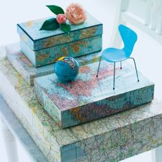 Map covered boxes - neat idea for boys room. but wrap big box for toys Globe Crafts, Map Crafts, Music Crafts, Photo Boxes, Map Globe, Decoupage Box, Holiday Pictures, Home Decor Wall Art, Decorative Boxes