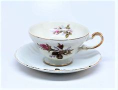 Moss Rose Tea Cup China Saucer Vintage Wedding by MaidenLongIsland