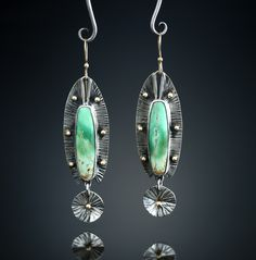 Variscite Earrings. Fabricated Sterling Silver and 14k. www.amybuettner.com https://www.facebook.com/pages/Metalsmiths-Amy-Buettner-Tucker-Glasow/101876779907812?ref=hl https://www.etsy.com/people/amybuettner http://instagram.com/amybuettnertuckerglasow
