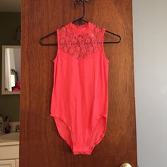 Coral lace bodysuit Coral lace bodysuit - never been worn, but has no tags Other