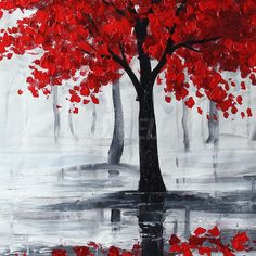 Peinture à l Huile Tableau Abstraite Feuille Rouge Arbre sur Toile sans Cadre