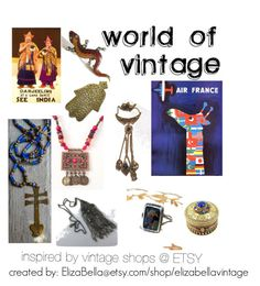 World of Vintage by elizabellavintage on Polyvore featuring La Vie Parisienne, vintage, Unique, etsy, jewelry and gifts
