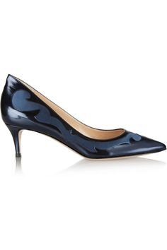 Gianvito Rossi|Satin-paneled leather pumps|NET-A-PORTER.COM