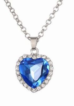 Sapphire Jewelry TITANIC Heart Ocean Necklace Platinum Plated Crystal  Hearts Necklaces Pendants For Women 77d8c9954c