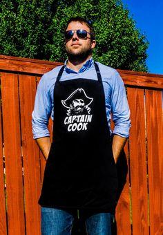 Funny Apron Captain Cook Pirate Fun BBQ Apron   ApronMen.com