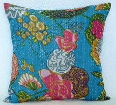 PURE COTTON CUSHION COVER FLORAL PRINT KANTHA STYLE TURQUOISE PILLOW CASE 40 CM #Handmade