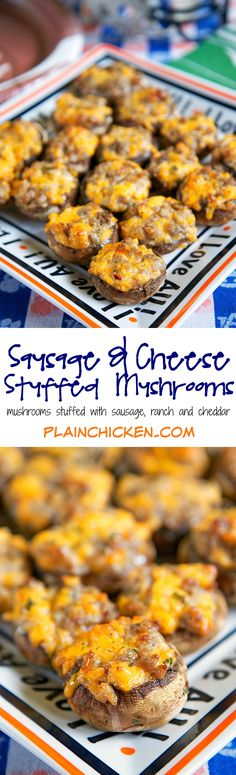 Sausage and Cheese Stuffed Mushrooms recipe - mushroom caps stuffed with sausage, cheese, ranch and red pepper - can make sausage mixture ahead of time and stuff mushrooms when ready to bake. Took these to a party and they were gone in a flash!