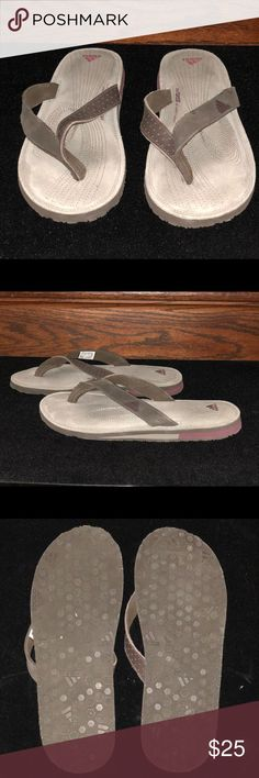 Adidas thong flip flops Adidas thong flip flops in beige, brown & raspberry color.  Super comfortable with Fit Foam soft comfort footbed.  Size 7 but run big. Worn only once.  Priced to sell! adidas Shoes Slippers