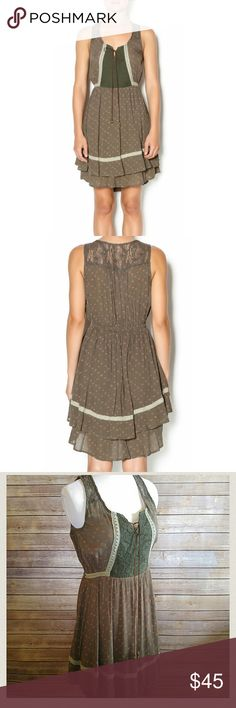 """Miss Me olive green two tiered boho dress Adorable. Never been worn, but one of the leather ropes came out of the hem so I repaired it. Pic 4.  Rayon, cotton.  Front length 35"""". Hangs a bit lower in the back. Miss Me Dresses"""