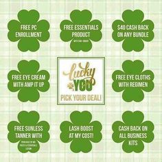 FEELING LUCKY?   In honor of St. Patrick's Day...Pick your own deal! But there's only one of each- so first come, first served‼️ Be the early bird!  Deal ends Friday so don't miss out!   https://sephrafaulknier.myrandf.com/