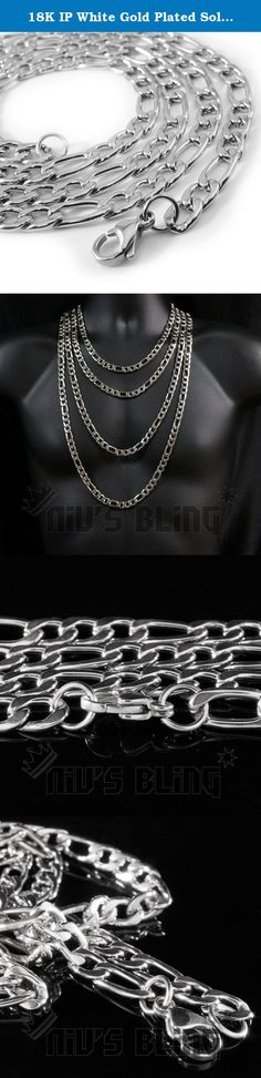 18K IP White Gold Plated Solid FIGARO CHAIN 316L Stainless Steel (24 Inches). This eye catching white gold Figaro chain goes great for everyday casual wear. This popular chain inspired by Italian design will add swag to your jewelry collection. Each chain comes with a lobster clasp and is available in 20, 24, 30, and 36 inches. Choose a width of 6mm, 8mm, 10mm, and 12mm to fit your style. These Figaro chains are made from solid 316L stainless steel, the same material used to make high end...