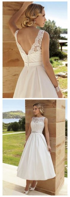 Newest Lace and Appliques tea length wedding dresses