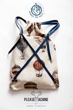 X -cross body multifunction: Rucksack, tote bag, DIY, make yourself hot air balloons canvas backpack with leather straps.