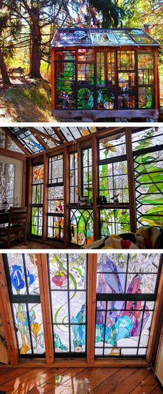Neile Cooper created a stained glass cabin that's covered in her colorful, nature-inspired imagery.