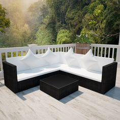 Only US$451.72, Black Poly Rattan Lounge Set with Two-seat Sofa - LovDock.com