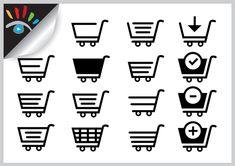 Shopping - winkelwagen icoon. Iconen worden in het dagelijks leven veel gebruikt. Deze soort iconen zijn kraakhelder, iconen hebben dan ook zeker een meerwaarde, ze nemen relatief weinig ruimte in en worden door het brein sneller verwerkt dan tekstuele informatie.