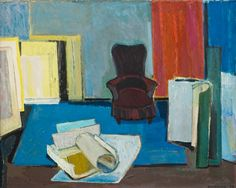 Interior of an Artist's Studio, 1959 by Tove Jansson on Curiator, the world's biggest collaborative art collection. Tove Jansson, Nordic Art, Digital Museum, Collaborative Art, Colour Schemes, Art Studios, Oil On Canvas, Abstract Art, Auction