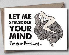 Funny birthday card husband hand drawn card by NaughtyGiftsStudio