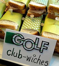 Use tees to keep sandwiches together! Great idea for golf-themed party by angela