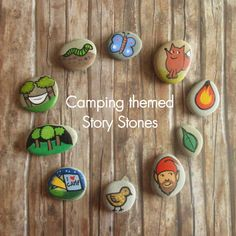 Hand-painted Camping themed Story Stones. Each hand painted stone is unique. Story Stone for storytelling play. Waldorf toys for Bday gift.