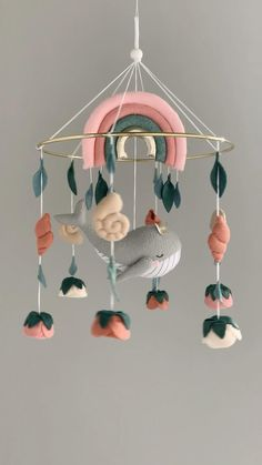 Baby Mobile Felt, Baby Crib Mobile, Felt Baby, Homemade Mobile, Handmade Baby Gifts, Baby Presents, Hanging Mobile, Nautical Baby, Baby Room Decor