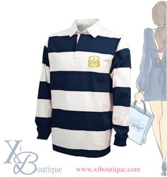 Alpha Xi Delta custom rugby shirt! This is a custom order from Xi Boutique. Email custom@xiboutique.com to create your own custom shirt for an event.