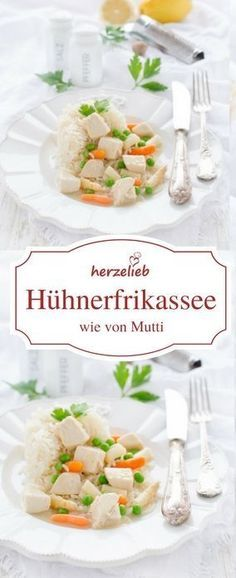 Rezept für Hühnerfrikassee klassisch. Einfach und leicht zuzubereiten und unglaublich lecker. Das Rezept ist von herzelieb #foodblogger #deutsch #deutschland #germany