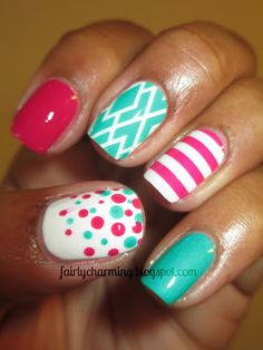 Jamberry nail shields, nail wraps, review, Zoya Morgan, China Glaze Turned up Turquoise, pink, turquoise, stripes, polka dots, diamonds, nai...