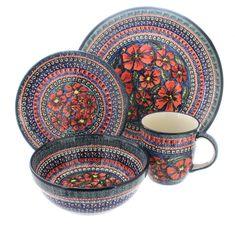 Blue Rose Polish Pottery | Jungle Flower 16 Piece Dinner Set