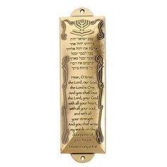 "Mezuzah Brass 5.5"" x 1.6 Hebrew Shema and English translation underneath it. 5…"
