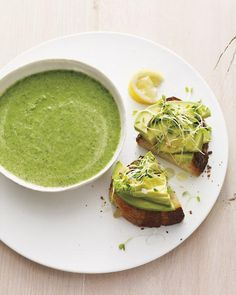 broccoli-spinach soup with avocado toasts.