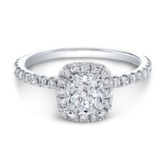 18kt White Gold Radiant Diamond Halo Engagement Ring from The One Collection™ - only at Wedding Day Diamonds