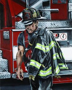 Firefighter art limited edition prints by Brushedmemories on Etsy, I need this for my Roos room @Susan Welch
