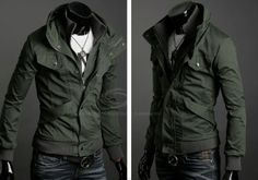 Handsome Slimming Stand Collar Long Sleeves Zipper Cotton Blend Casual Jacket