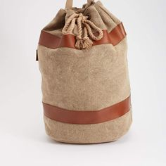 Leather & Canvas Barrel Bag
