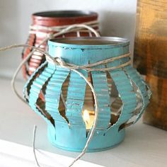rustic tin can cut lanterns, so cute!