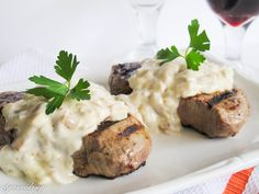 I make this dish every Valentines Day. I love this melt-in-your mouth steak and the blue cheese sauce compliments it exquisitely. By the way, if you are not a mushroom lover like us, you can skip that step and make the sauce without them  Ingredients: 2 (4 ounce) filet mignons salt & pepper...