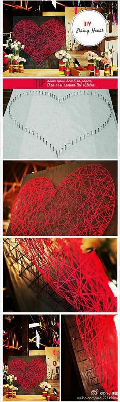 DIY string heart art. Would love to weave in some leaves and glitter, cover this in resin and use as outdoor garden wall feature. :)