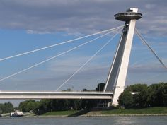 Bratislava bridge with U. Bratislava Slovakia, Danube River, Constructivism, Central Europe, Eurotrip, Eastern Europe, Art And Architecture, Bridges, Vacations