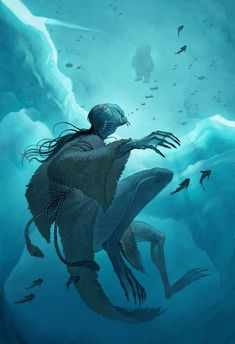 Qalupalik is an Inuit mythological creature. The story was used to prevent children from wandering off alone, lest the qalupalik take them children in her amautik underwater and keep them forever. Qalupalik 1 by joy-ang.deviantart.com on @DeviantArt