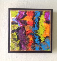 6x6 encaustic with alcohol inks and shellac burn